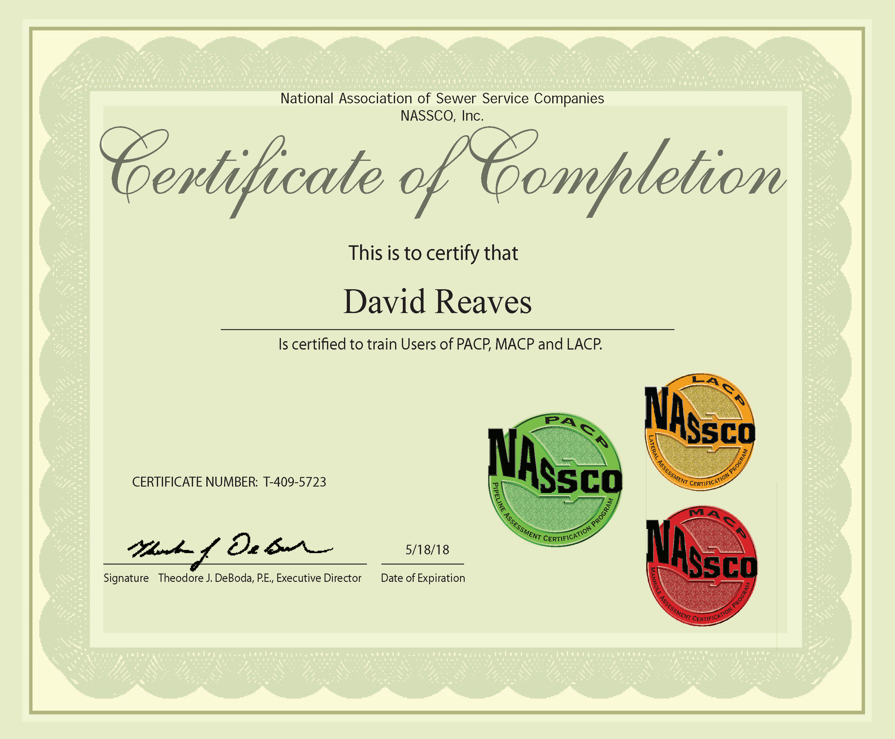 President, David Reaves Successfully Completes NASSCO\'s Instructor ...
