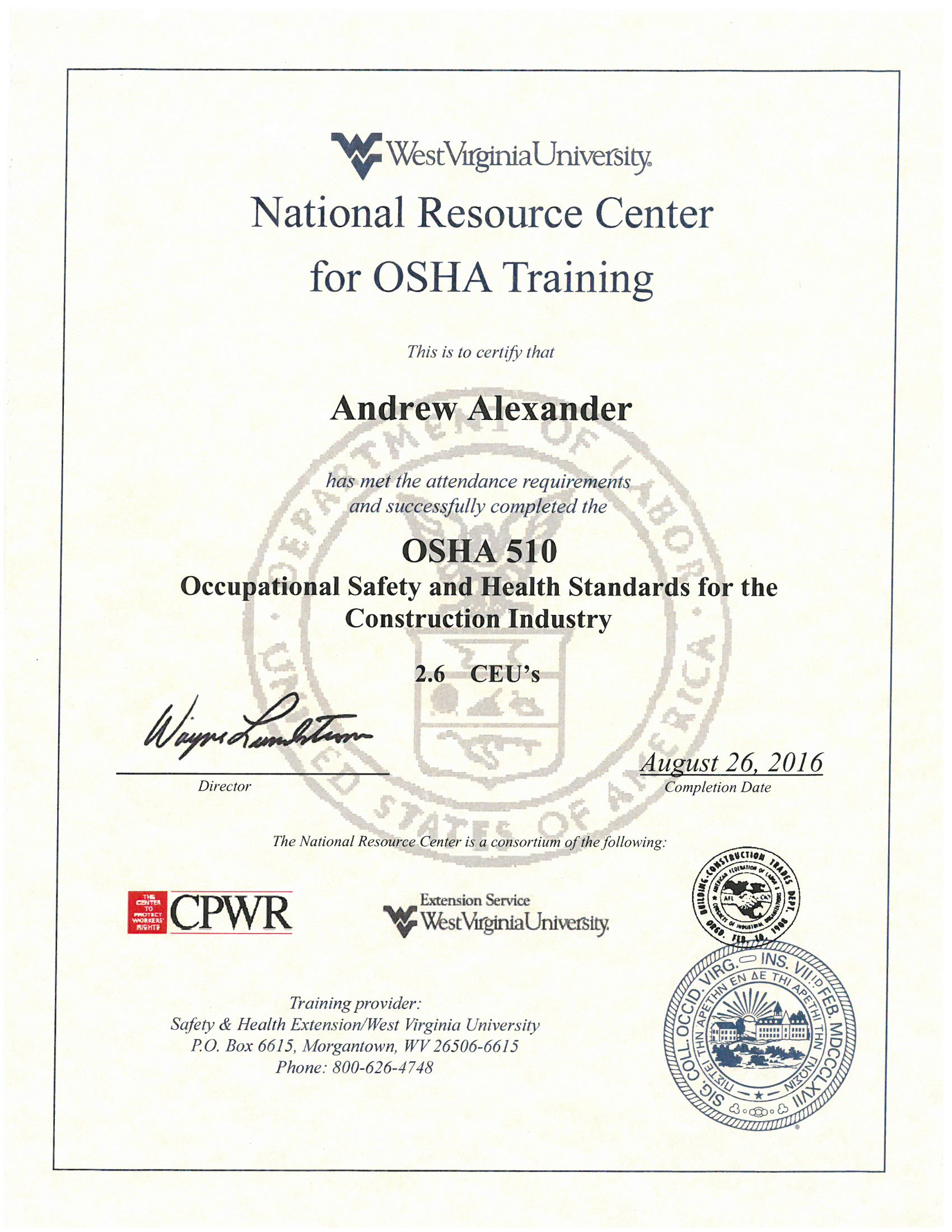 David reaves and drew alexander completes osha 510 training topics include scope and application of the osha construction standards special emphasis is placed on those areas that are the most hazardous 1betcityfo Images