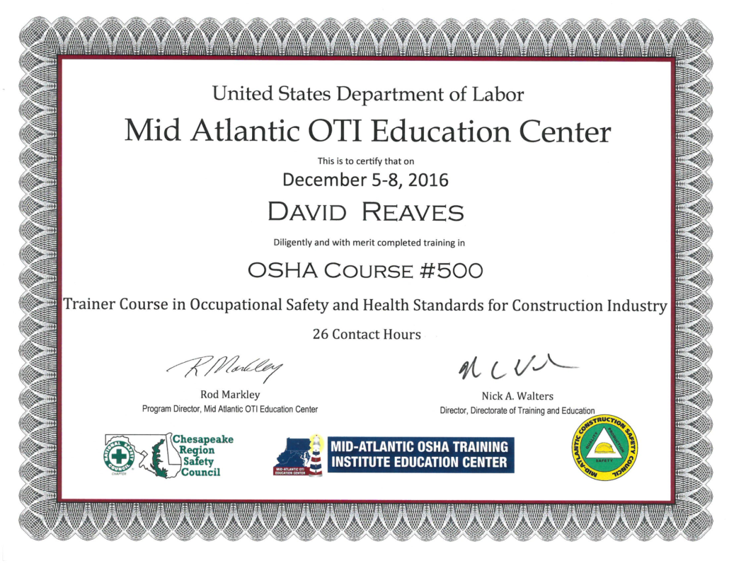 David reaves and drew alexander become certified osha trainers untitled 2 fw untitled 3 fw xflitez Gallery